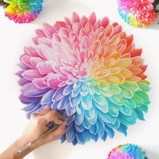 Rainbow Chrysanthemum in Watercolor by: Sanjana Baijnath
